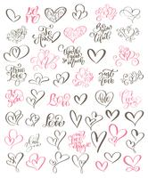 Stor uppsättning handskrivna bokstäver om kärlek vektor