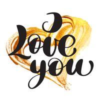 Kortvalentin Jag älskar dig Vector Lettering stilig text med ett realistiskt guldborsthjärta