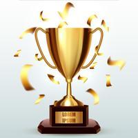 Goldenes Cup des realistischen Vektors 3d lokalisiert auf weißem Hintergrund. Meisterschaftstrophäe umgeben von fallenden Konfetti. Sportturnierpreis