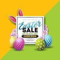 Ostern-Verkaufs-Illustration mit Farbe gemaltem Ei und Typografie-Element vektor