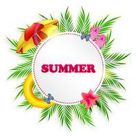 Sommerhintergrund mit Palmblättern, Strandschirm und Pantoffeln