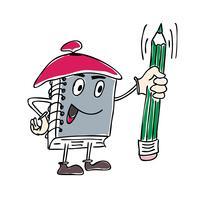 Vektor-Illustration von Zeichen Notizbuch-Maskottchen, das einen Stift hält