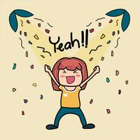 handritad doodle söt tjej är väldigt glad säger ja