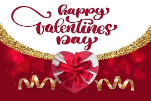 Glückliche Valentinsgruß-Tageshandzeichnungs-Vektor-Briefgestaltung. Karte mit Geschenkbox Herzen