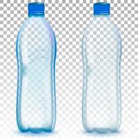 Plastikflasche mit Mineralwasser auf transparentem Hintergrund des Alphas. Flaschenmodell-Vektorillustration des Fotos realistische.
