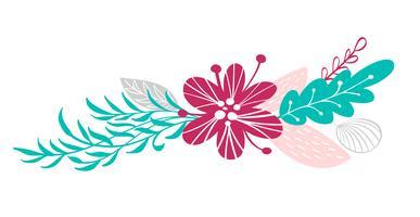bukettblommor och blommiga element isolerade på vit bakgrund i skandinavisk stil. Handritad vektor illustration