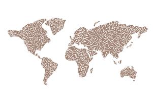 Världskarta med hjärtatiketter för Alla hjärtans dag. Vektor platt illustration