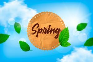 Frühlingsvektorillustration mit Himmel, Wolken, Blättern und Postpapier