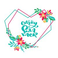 Text genießen Sie Sommer im Blumengeometrischen Herzblattrahmen vektor