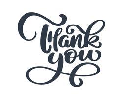 Tack handskriven inskription. Handtecknad bokstäver
