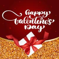 kort Lycklig Alla hjärtans dag handritad penselbokstäver med gåva röd bakgrund vektor