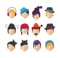 Set med människor ikoner med ansikten vektor