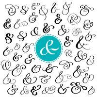 Stor samling av anpassade handskriven ampersands
