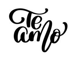 Te Amo älskar dig Spansk text kalligrafi vektor bokstäver för Alla hjärtans kort