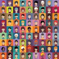 Set Leuteikonen mit Gesichtern