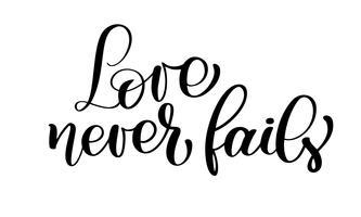 Liebe fällt nie christlichen Zitattext, Handbeschriftungs-Typografieentwurf aus vektor