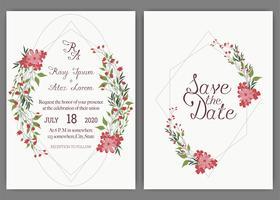 Eleganta bröllopskort består av olika slags blommor.