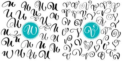 Set med handdragen vektor kalligrafi brev U, V