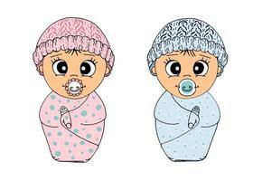 Neugeborener Junge und Mädchen mit Dummy in eine Decke gehüllt, in einem Hut. handgezeichnete Set süße Cartoon-Baby-Zwillinge. Vektor isoliert.