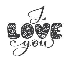 Ich liebe dich, Vector Valentines Day-Text in skandinavischem Folk handgeschrieben