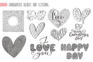 Stor uppsättning valentiner dag handskrivet bokstäver