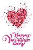 Kalligraphischer glücklicher Valentinstag mit Herzen