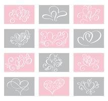 Stellen Sie Liebes-Vektor-Valentinsgrußtageskartenschablonen ein