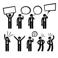 Geschäftsmann Business Man Talking Thinking Shouting, das Plakat-Strichmännchen-Piktogramm-Ikone hält.
