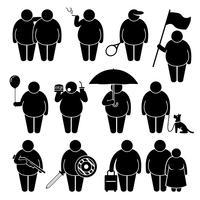 Fetter Mann, der unter Verwendung der verschiedenen Gegenstände Strichmännchen-Piktogramm-Ikonen hält.