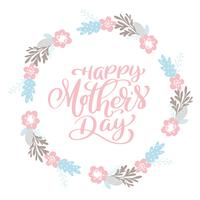 Lycklig mors dagtext krans med blommor, tagg, ikon vektor