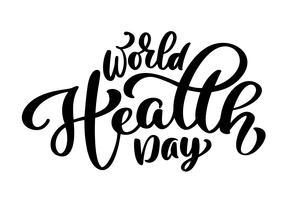 Vektor illustration World Heart Day bokstäver citat. Tappningstext, bokstäver fras. Isolerad på vit bakgrund
