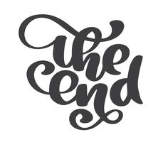 handritad End Vector text bokstäver frasen, prydnadsfilm avslutande typografi Illustration design för semester hälsningskort och för foto överlägg, t-shirt tryck, flygblad, affisch design