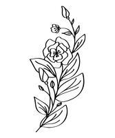 Übergeben Sie das gezogene moderne Blumenzeichnen und -skizze, die mit Linie Kunst, Vektorillustrations-Hochzeitsdesign für T-Shirts, Taschen, für Poster mit Blumen, die Grußkarten verziert sind, lokalisiert auf weißem Hintergrund vektor