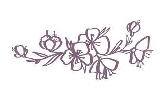 moderna blommor ritning och skiss blommig med line-art isolerad på vit bakgrund