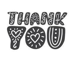 Tack till handskriven skandinavisk inskription. Handtecknad bokstäver. Tack kalligrafi. Tack kort. Vektor illustration Isolerad på vit bakgrund