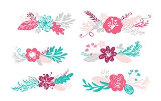 sechs blumenstrauss und florale elemente vektor