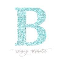 Handgezeichnete B Brief Kalligraphie Vintage Logo Design-Vorlage vektor