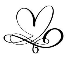 Handdragen kärlek gräns blommig hjärtseparator Kalligrafi designelement. Vektor vintage bröllop, Alla hjärtans dag illustration Isolerad på vit bakgrund