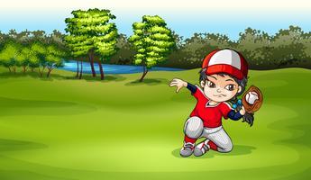 Ein Baseballfänger am Feld vektor
