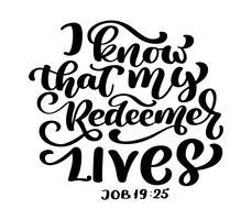 Handbeschriftung Ich weiß, dass mein Erlöser lebt, Hiob 19:25. Biblischer Hintergrund. Text aus der Bibel Altes Testament. Christlicher Vers, Vektorillustration lokalisiert auf weißem Hintergrund