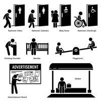 Öffentliche Einrichtungen und Einrichtungen wie WC, Trinkbrunnen, Bänke, Spielplatz, Werbetafel und Schutzraum. vektor