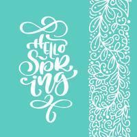 Hej våren Handritad kalligrafi och penselpennbokstäver vektor