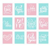 Stor uppsättning kärlek Vector Valentines dag kort mallar