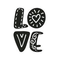 Kärlek text Vektor Valentinsdag text med glitterelement skandinaviska. Skena handtecknade bokstäver. Romantiskt citationstecken för designhälsningskort, fotoöverlagringar, semesterinbjudningar