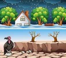 Två katastrof scen med översvämning och torka