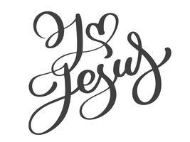 Handritad Jag älskar Jesus bokstäver vektor