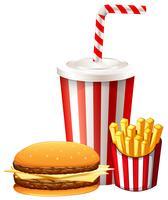 Lunchuppsättning med hamburgare och pommes frites vektor