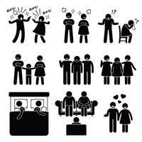 Äktenskap Familj Problem Par Äktenskap Kvinna med rådgivare. Maka och fru har familjen problem. vektor
