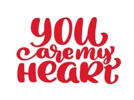 Du är mitt hjärta ritade bokstäver fraser text vektor illustration