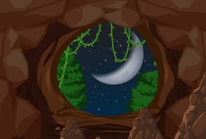 Entré till grotta natt scen vektor